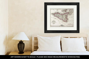 Framed Print, Sicily An Other Islands Old Map