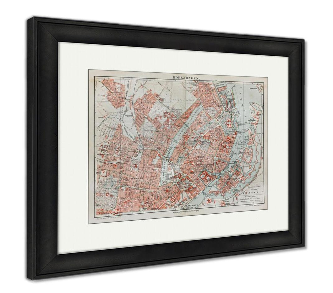 Framed Print, Vintage Map Of Copenhagen At The End Of 19th Century