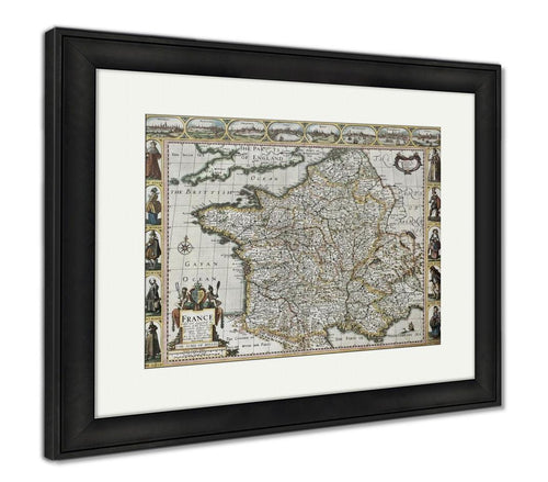Framed Print, France Old Map