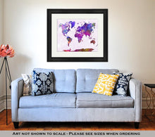 Load image into Gallery viewer, Framed Print, World Map In Watercolor Purple Warm