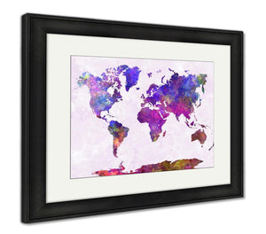 Framed Print, World Map In Watercolor Purple Warm