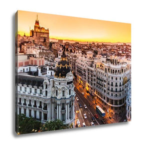 Gallery Wrapped Canvas, Panoramic View Of Gran Vimadrid Spain