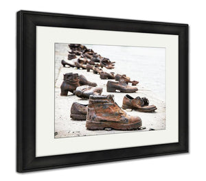 Framed Print, Shoes The Danube Bank Memorial Budapest Hungary Place Reverence Cultural