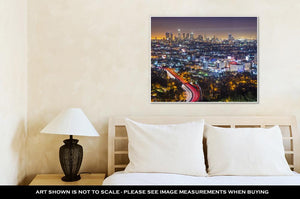 Gallery Wrapped Canvas, Los Angeles Californiusdowntown Skyline At Night