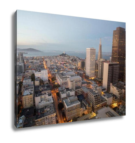 Gallery Wrapped Canvas, Aerial Views City Skyline San Francisco Bay From Downtown Dusk