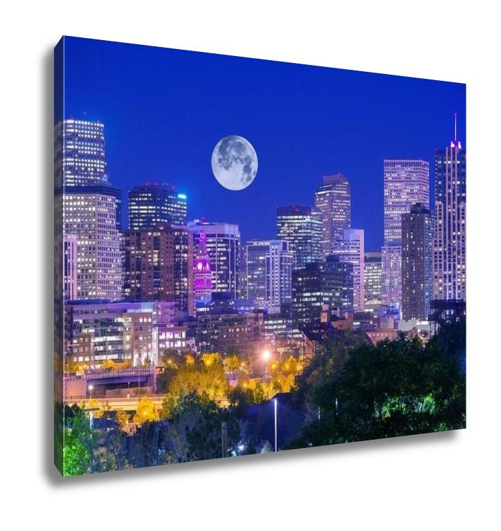 Gallery Wrapped Canvas, Denver Colorado At Night