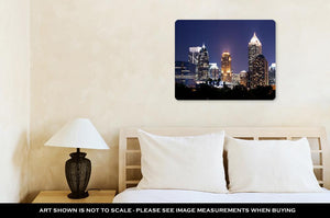 Metal Panel Print, Group Of Buildings At Atlantdowntown At Dusk