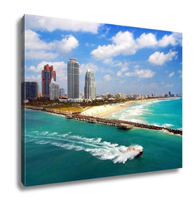 Gallery Wrapped Canvas, Aerial View Of South Miami Beach