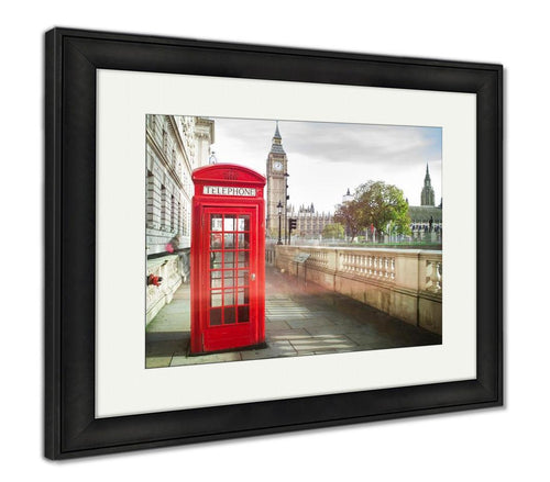 Framed Print, Big Ben And Red Phone Cabine In London