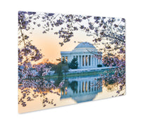 Load image into Gallery viewer, Metal Panel Print, Thomas Jefferson Memorial During Cherry Blossom Festival Sunset