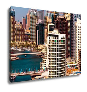 Gallery Wrapped Canvas, Amazing Colorful Dubai Marinskyline Water Canal Expensive Yachts