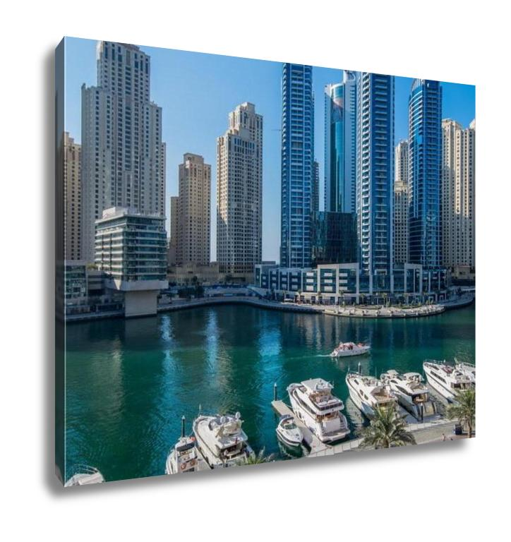 Gallery Wrapped Canvas, Dubai Marina At Night In United Arab Emirates