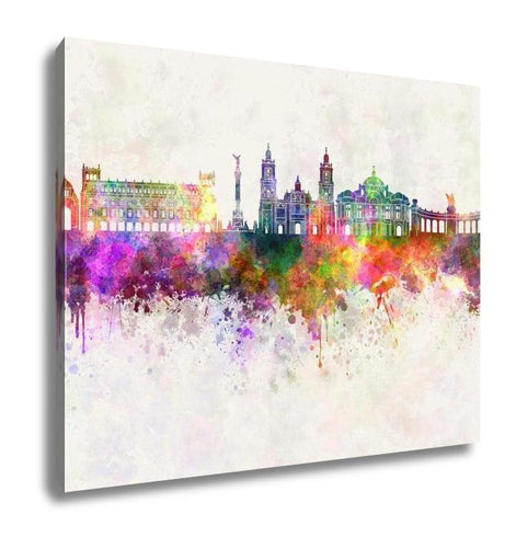 Gallery Wrapped Canvas, Mexico City V2 Skyline In Watercolor