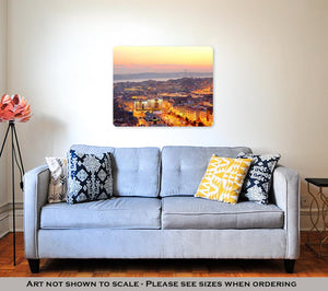 Metal Panel Print, View Of Lisbon City Center At Sunset Portugal