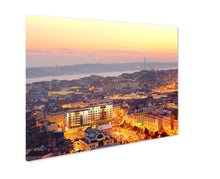 Load image into Gallery viewer, Metal Panel Print, View Of Lisbon City Center At Sunset Portugal