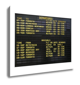 Gallery Wrapped Canvas, Airport Board Showing Departures And Arrivals To Various Cities Isolated On