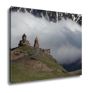 Gallery Wrapped Canvas, Photo Trinity Church In Gergeti Against The Backdrop Of Snowy Mountains And