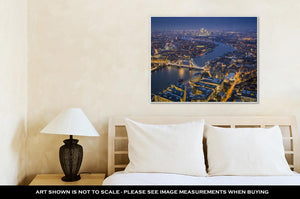 Gallery Wrapped Canvas, London England Aerial Skyline View Of London With The Iconic Tower Bridge The