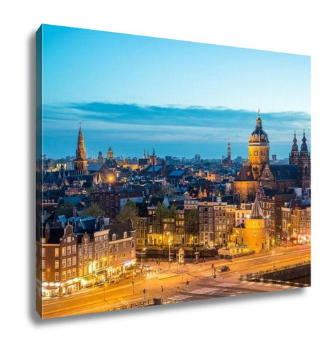 Gallery Wrapped Canvas, Amsterdam Skyline In Historical Area At Night Amsterdam Netherlands Ariel View