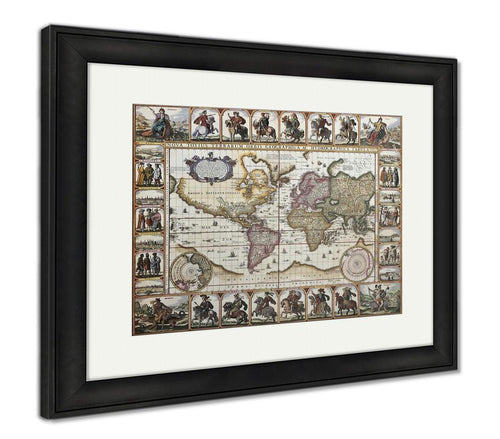 Framed Print, World Old Map Created By Nicholas Visscher Published In Amsterdam 1652