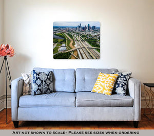 Metal Panel Print, Houston Texas Aerial Urban Sprawl View Over Interstates And Highway Bridges And