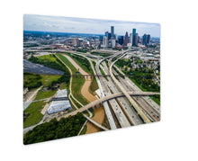 Load image into Gallery viewer, Metal Panel Print, Houston Texas Aerial Urban Sprawl View Over Interstates And Highway Bridges And