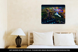 Metal Panel Print, The Las Vegas Strip As Seen From The Cosmopolitan Hotel With View Onto Bellagio