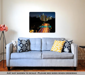 Metal Panel Print, View Of The 110 Freeway And Downtown Los Angeles Skyline At Nigh