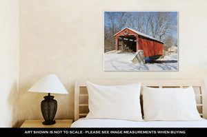 Gallery Wrapped Canvas, Covered Bridge In Winter