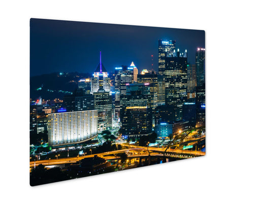 Metal Panel Print, Night View Of Pittsburgh From The Top Of The Duquesne Incline In