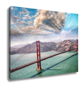 Gallery Wrapped Canvas, Aerial View Of San Francisco Golden Gate Bridge From Helicopter