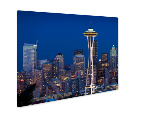 Metal Panel Print, Seattle Skyline At Dusk