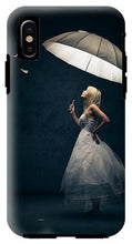 Load image into Gallery viewer, Explorations-SFI: Girl With Umbrella And Falling Feathers IPhone Case