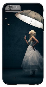 Explorations-SFI: Girl With Umbrella And Falling Feathers IPhone Case