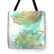 Load image into Gallery viewer, Gold Shore Beach Tote Bag - Chairs and Umbrella
