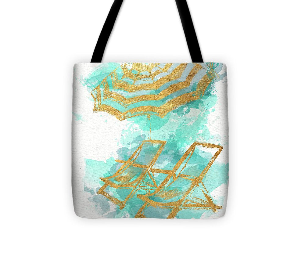 Explorations-SFI: Gold Shore Beach Tote Bag - Chairs and Umbrella