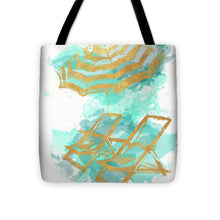Load image into Gallery viewer, Explorations-SFI: Gold Shore Beach Tote Bag - Chairs and Umbrella