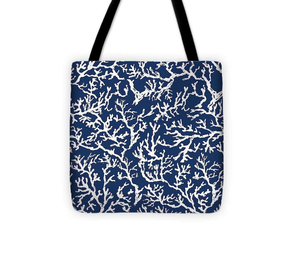 Explorations-SFI: White Coral On Blue Pattern Tote Bag