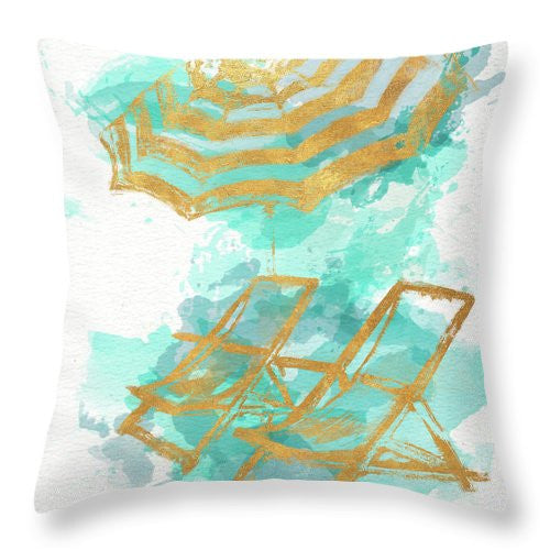 Gold Shore Beach Throw Pillow - Chairs and Umbrella
