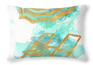 Explorations-SFI: Gold Shore Beach Throw Pillow - Chairs and Umbrella