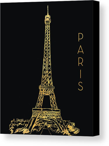Paris On Black Canvas Print by Nicholas Biscardi