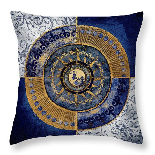 Gold And Sapphire Moon Dial II Throw Pillow