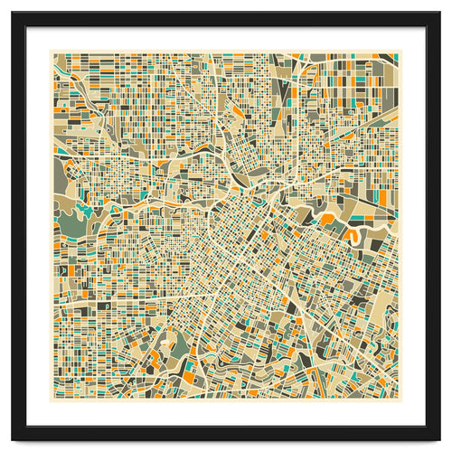 Houston Map Framed Artwork