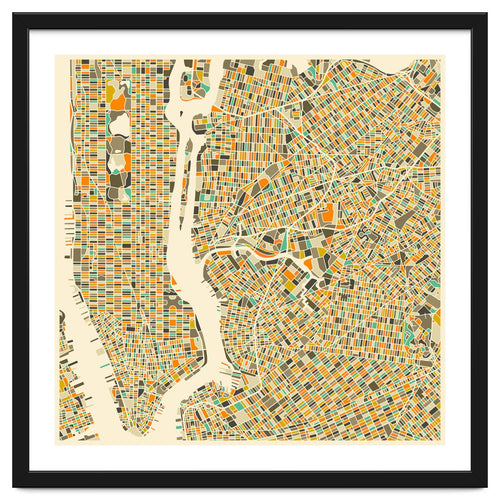 New York Map Framed Artwork