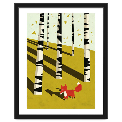 Fox In Birchland Framed Artwork