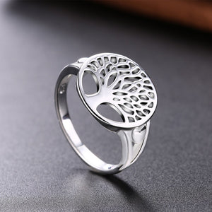 Explorations-SFI: Tree of Life Ring in 18K White Gold Plated
