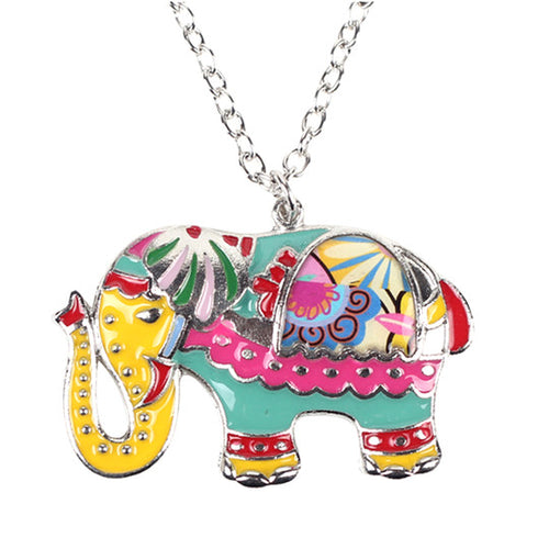 Colorful Elephant Pendant Necklace