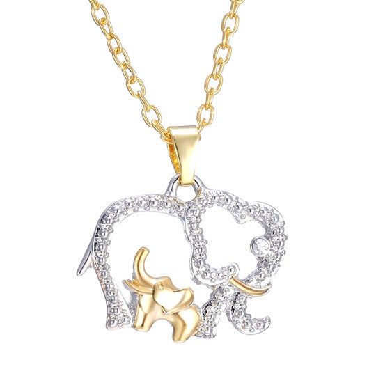 Mommy And Baby Elephant Pendant Necklace