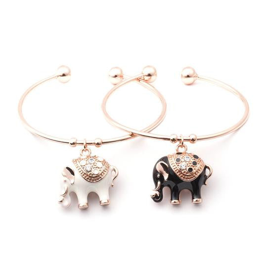 Elegant Rose Gold Elephant Charm Bangle