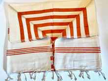 Load image into Gallery viewer, 100% Cotton Authentic Turkish Towel-Beach & Bath-Orange Cream (Hand Loomed)